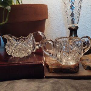 Crystal Cut Pressed Glass Cream & Sugar Bowl